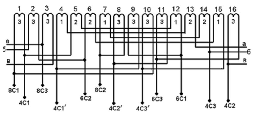 Схема 2р = 8-6-4, Z = 36.