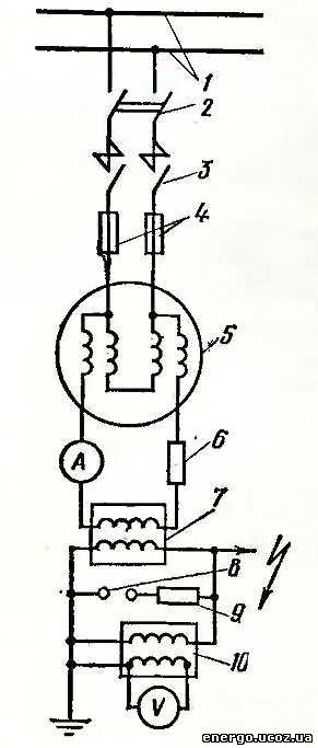 Схема установки для испытания изоляции электродвигателя повышенным напряжением.  Одна из возможных схем установки...
