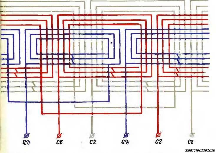 Схема обмотки электродвигателя