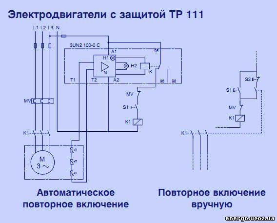 Ниже представлены схемы подключения трёхфазного электродвигателя, оснащённого терморезисторами PTC, с расцепителями.