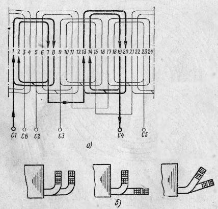 Регулирование частоты вращения трехфазных асинхронных обмотки якорей схема схемы однослойной обмотки трехфазных...